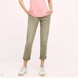NWT ANTHROPOLOGIE Green Khaki Chino Cuffed Pants